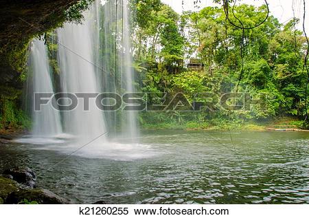 Stock Image of Tad Champee Cave Waterfall, Paksa Champasak South.