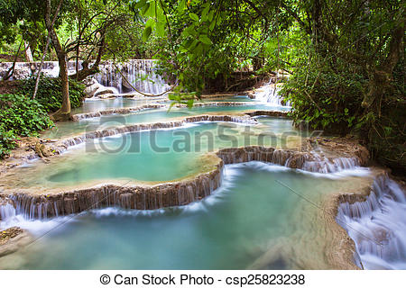 Stock Photos of Kuang Si Waterfalls, beautiful cascade of blue.