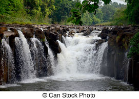 Stock Photos of Tad Pha Suam Waterfall, Laos.