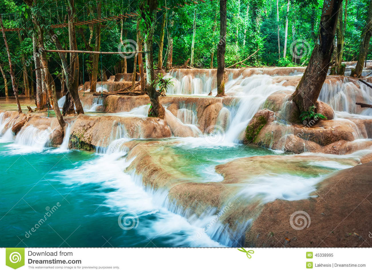 Kuang Si Waterfall, Luang Prabang, Laos Royalty Free Stock.