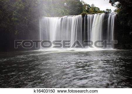 Stock Photography of Tat Cham Pee waterfall in Laos k16403150.