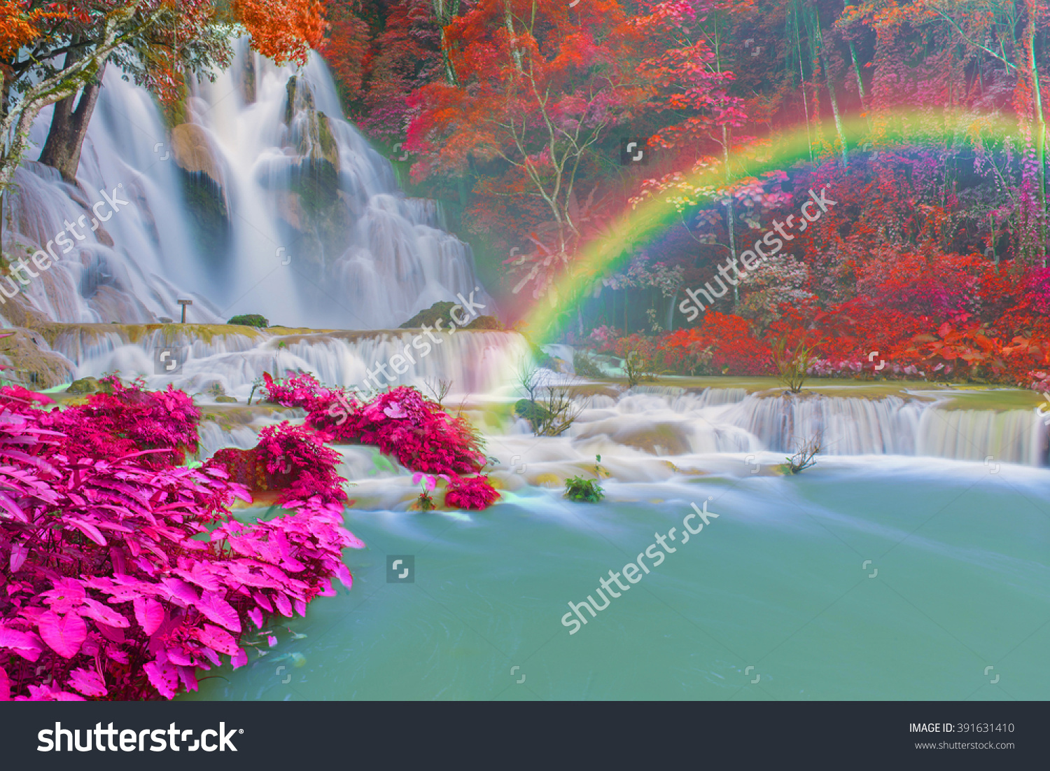 Waterfall Rain Forest Tat Kuang Si Stock Photo 391631410.