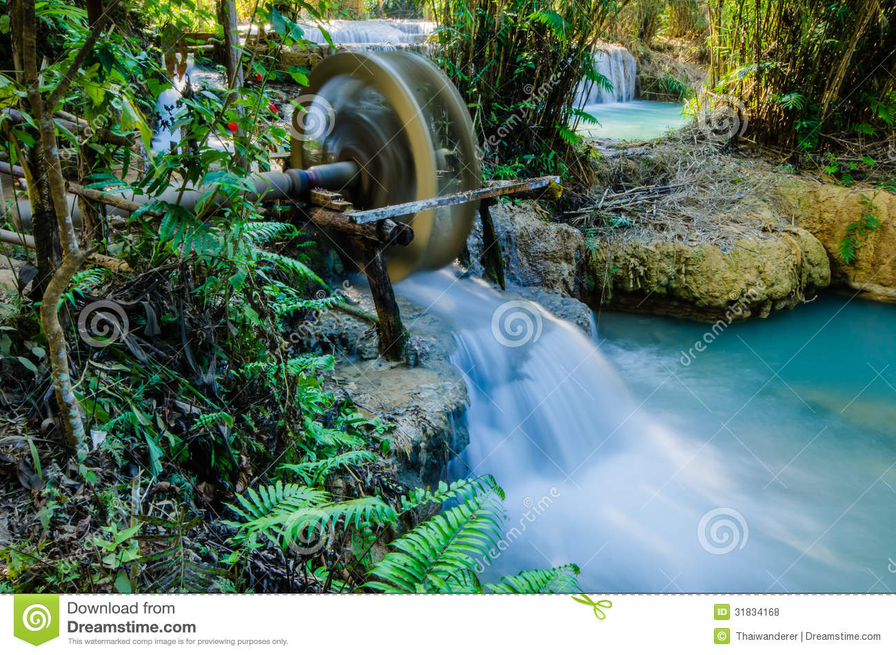 Kuang Si Waterfall, Tad Kwangsi, Water Wheel Royalty Free Stock.