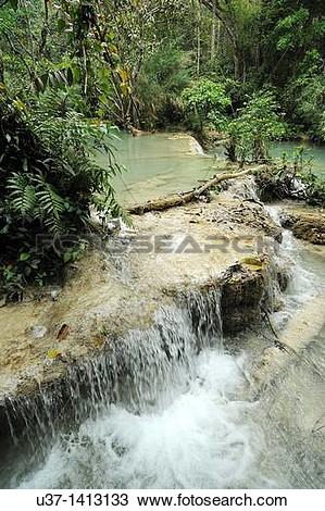 Stock Photo of Kuang Si Waterfall, Luang Prabang, Laos. u37.