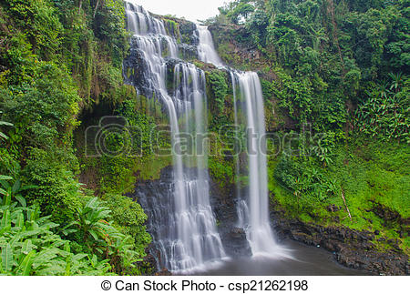 Stock Photographs of Tad Gneuang Waterfall, Paksa Champasak South.
