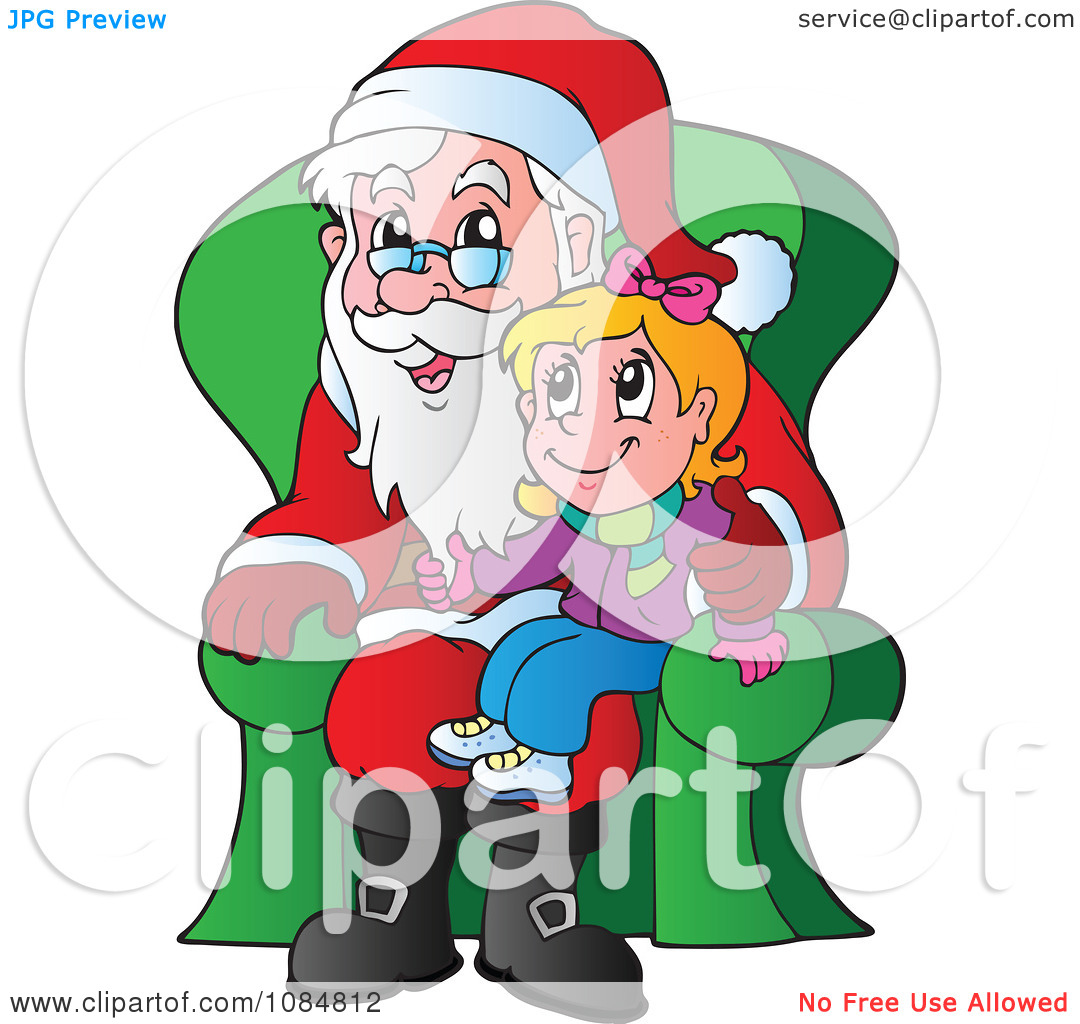 Clipart Christmas Girl Sitting On Santas Lap.