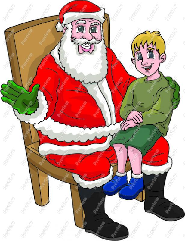 Santa With Boy On His Knee.