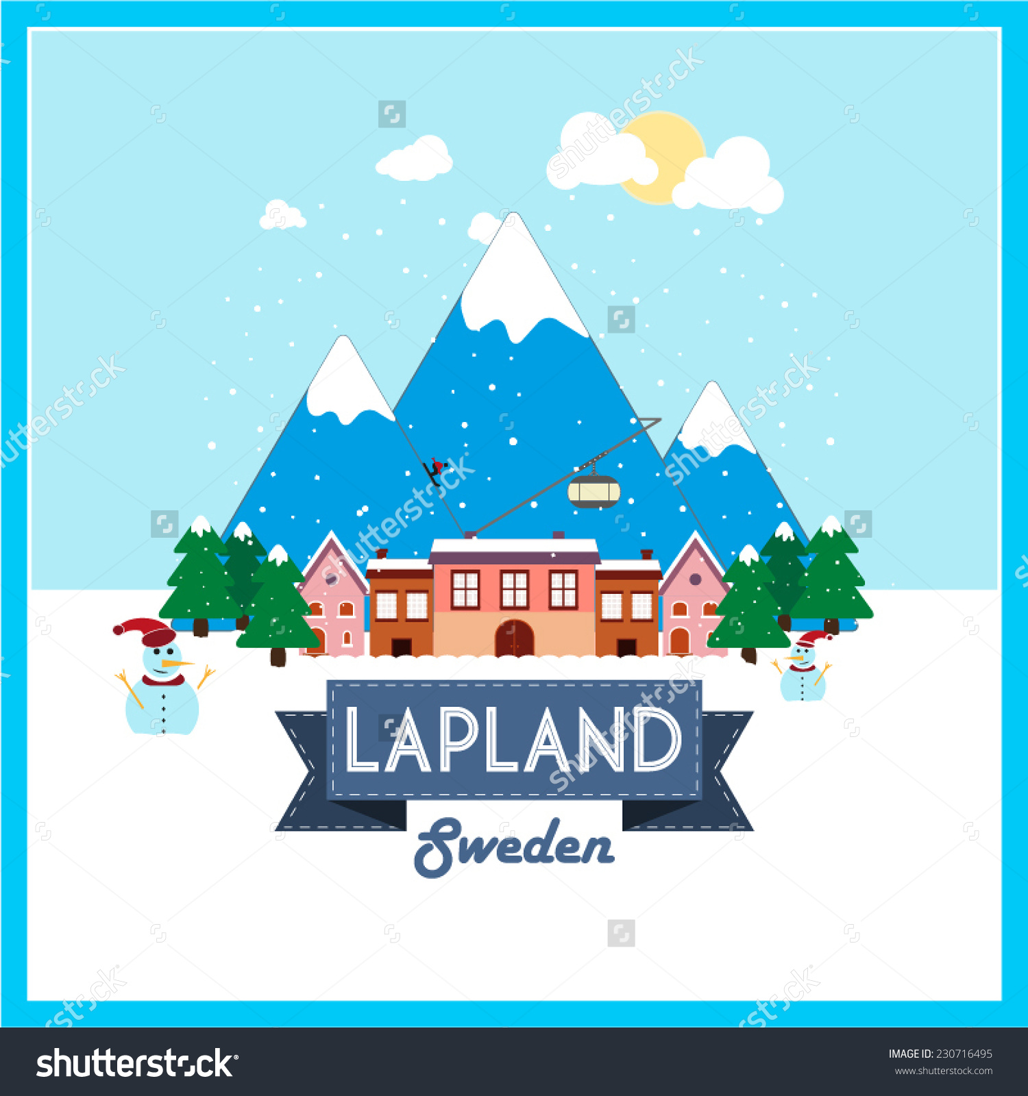 Lapland Sweden Winter Holiday Destination Flat Stock Vector.
