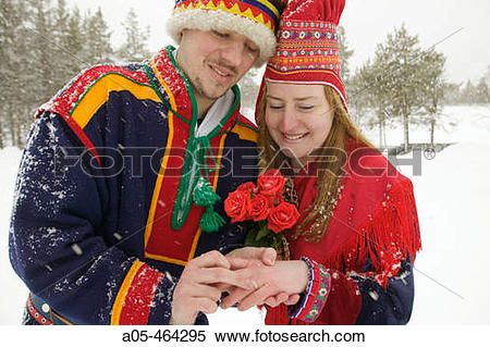 Stock Image of Traditional Lapp wedding in Hotel Kakslauttanen.