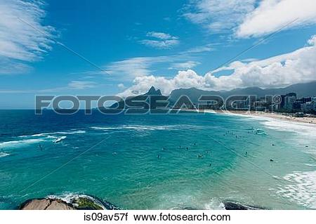 Stock Photography of Ocean waves lapping the coastline, Ipanema.