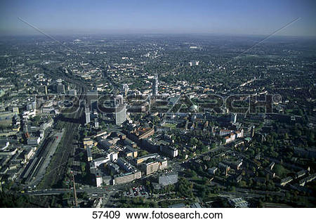 Stock Photograph of Aerial view of city, Essen, North Rhine.