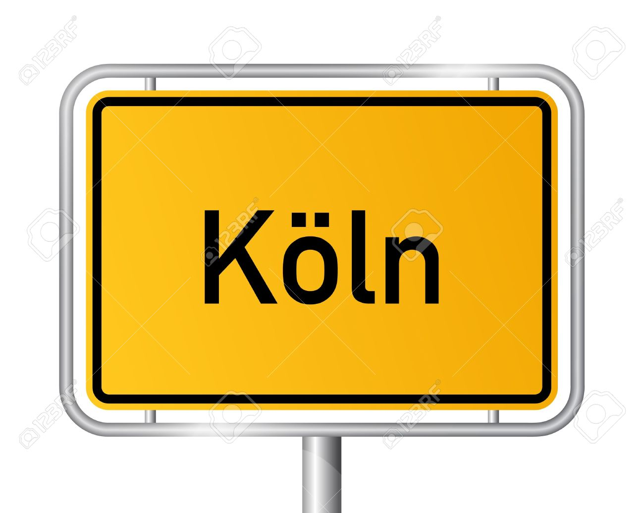 City Limit Sign COLOGNE / K LN Against White Background.