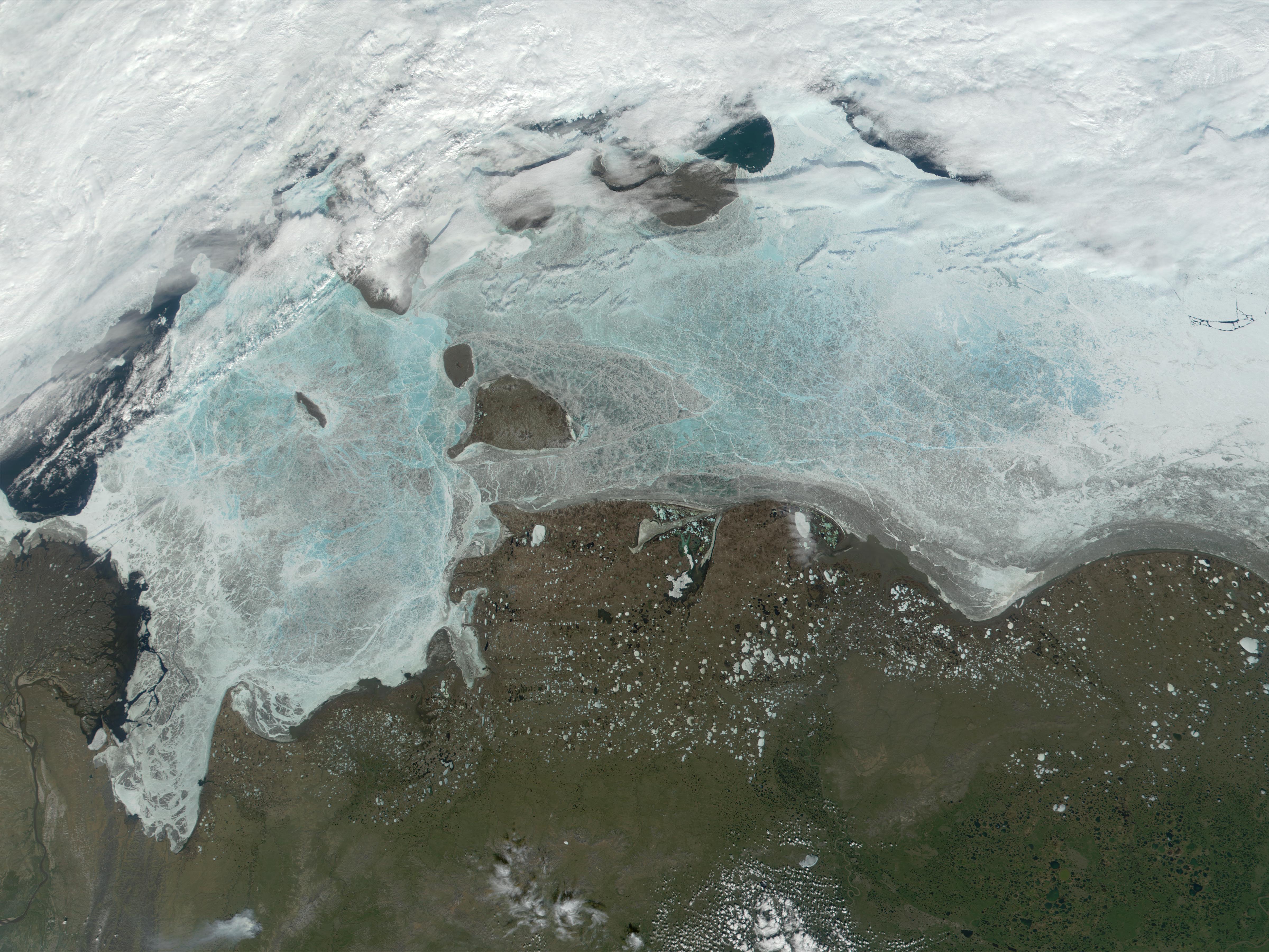 NASA Visible Earth: Coast of East Siberian Sea and Laptev Sea.
