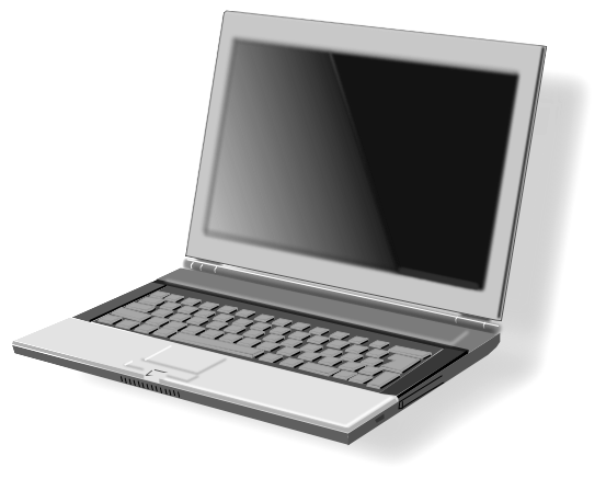 Clipart of a laptop computer.