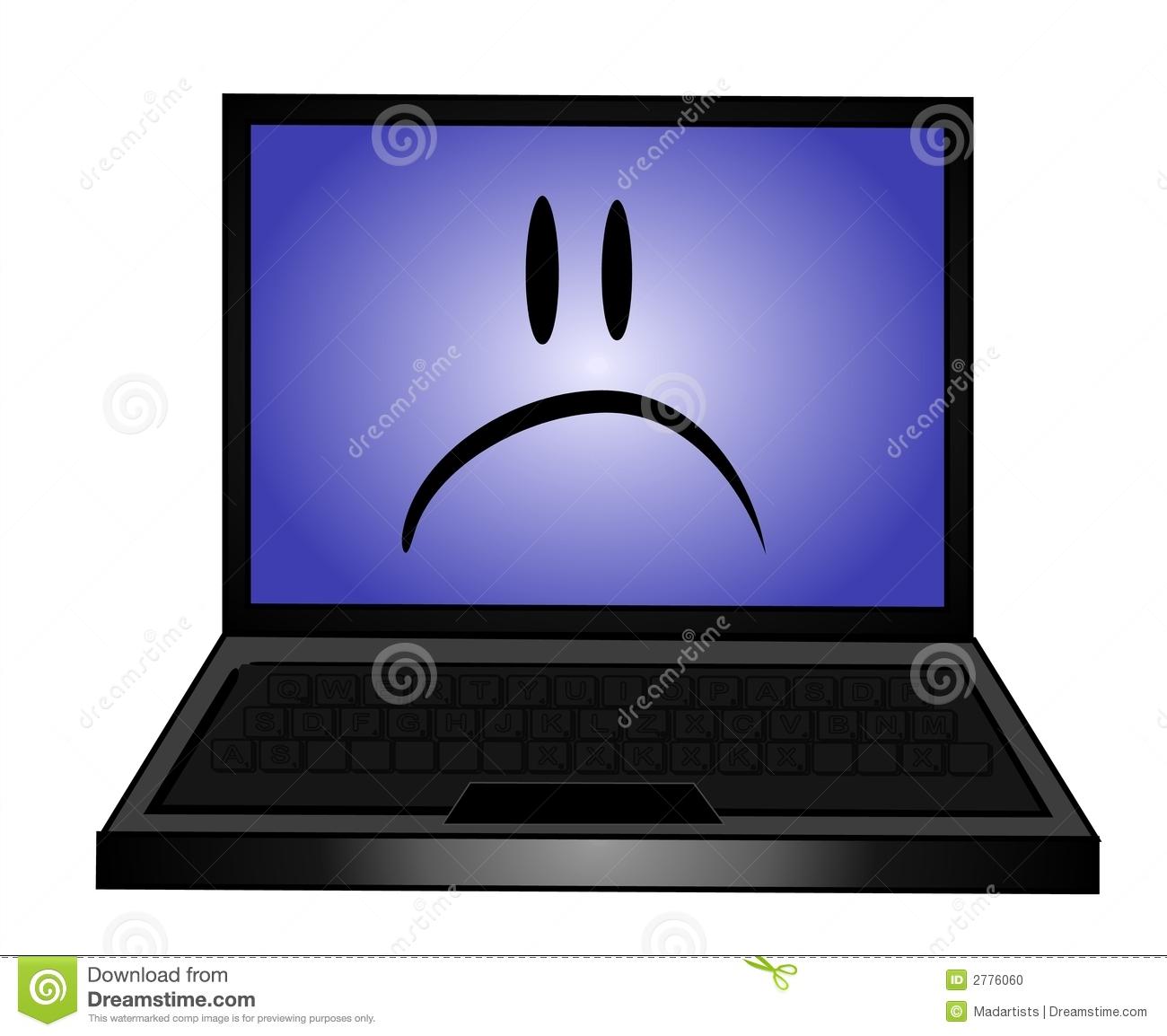 Sad Laptop Computer Clip Art Stock Photo.