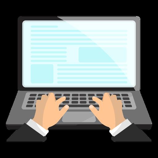 Notebook laptop hand illustration.