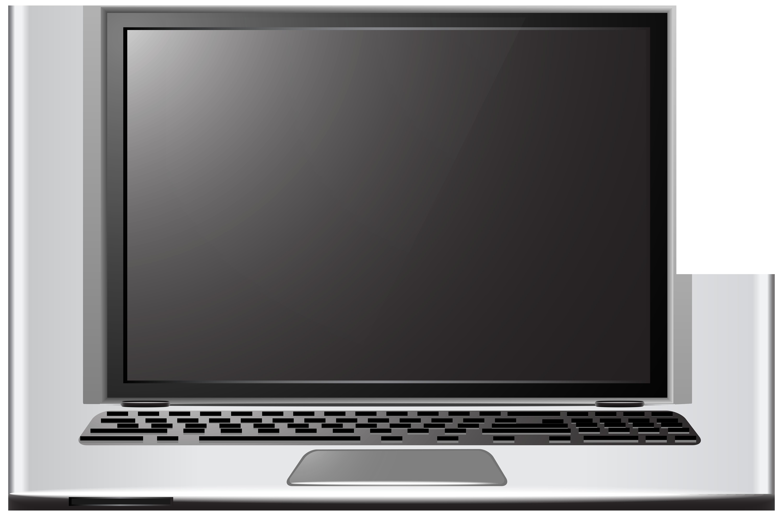 Silver Laptop PNG Clip Art.