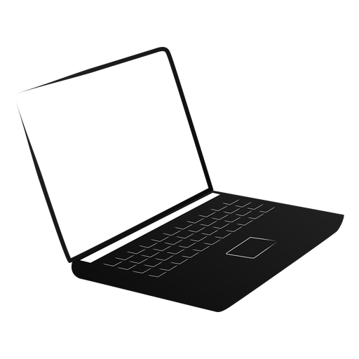 Netbook notebook laptop screen silhouette.