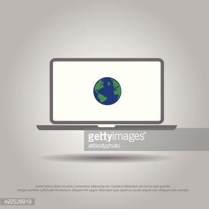 World IN Laptop Vector Icon premium clipart.