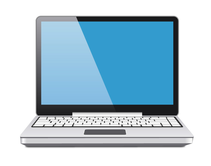 Laptop Vector Blue Screen.