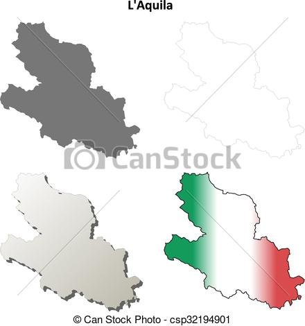 Vector Clipart of L'Aquila blank detailed outline map set.