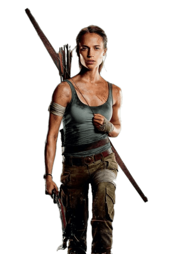 Lara Croft Fully Equiped transparent PNG.