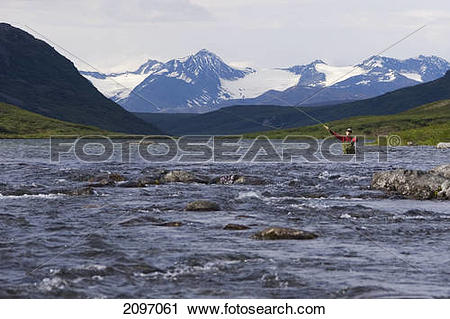 Stock Photography of Fly Fisherwoman Casts To Wild Arctic Grayling.