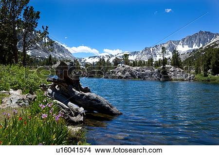 Stock Photo of Panorama of clear blue lake against snow.