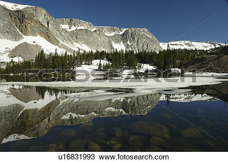 Stock Photo of Medicine Bow National Forest, WY, Wyoming, Snowy.