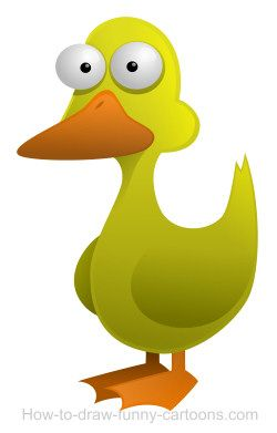 Amusing cartoon duck with a large beak and tiny legs..