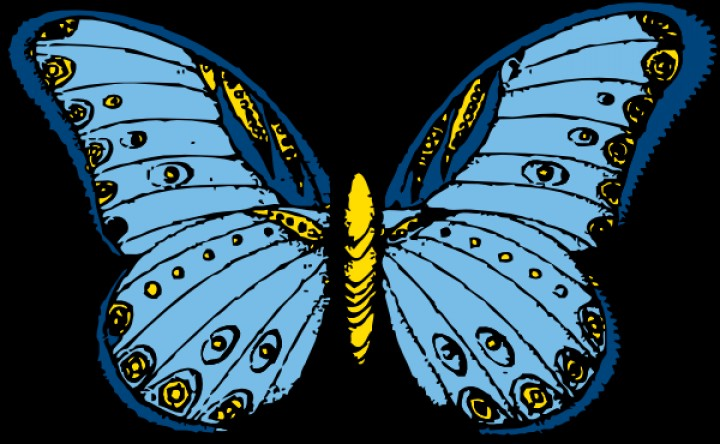 Free Blue Butterfly Cartoon Clip Art Draw.