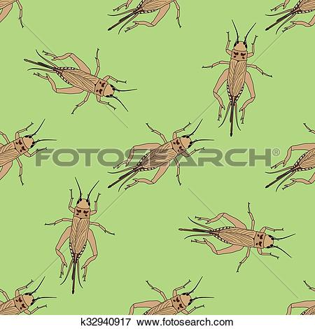 Clip Art of Seamless pattern with cricket or grig. Gryllus.
