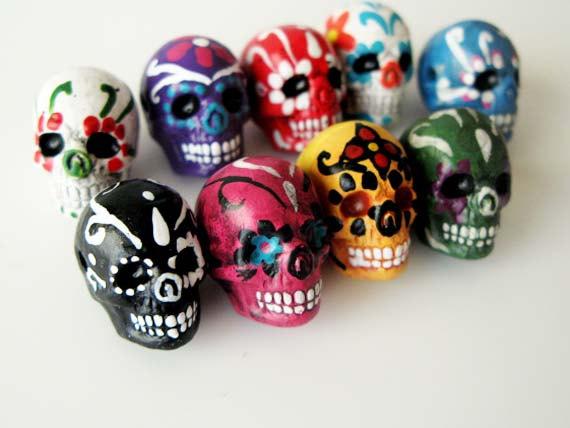 10 Large Sugar Skull Beads LG600 ceramic skull by TheCraftyBead.