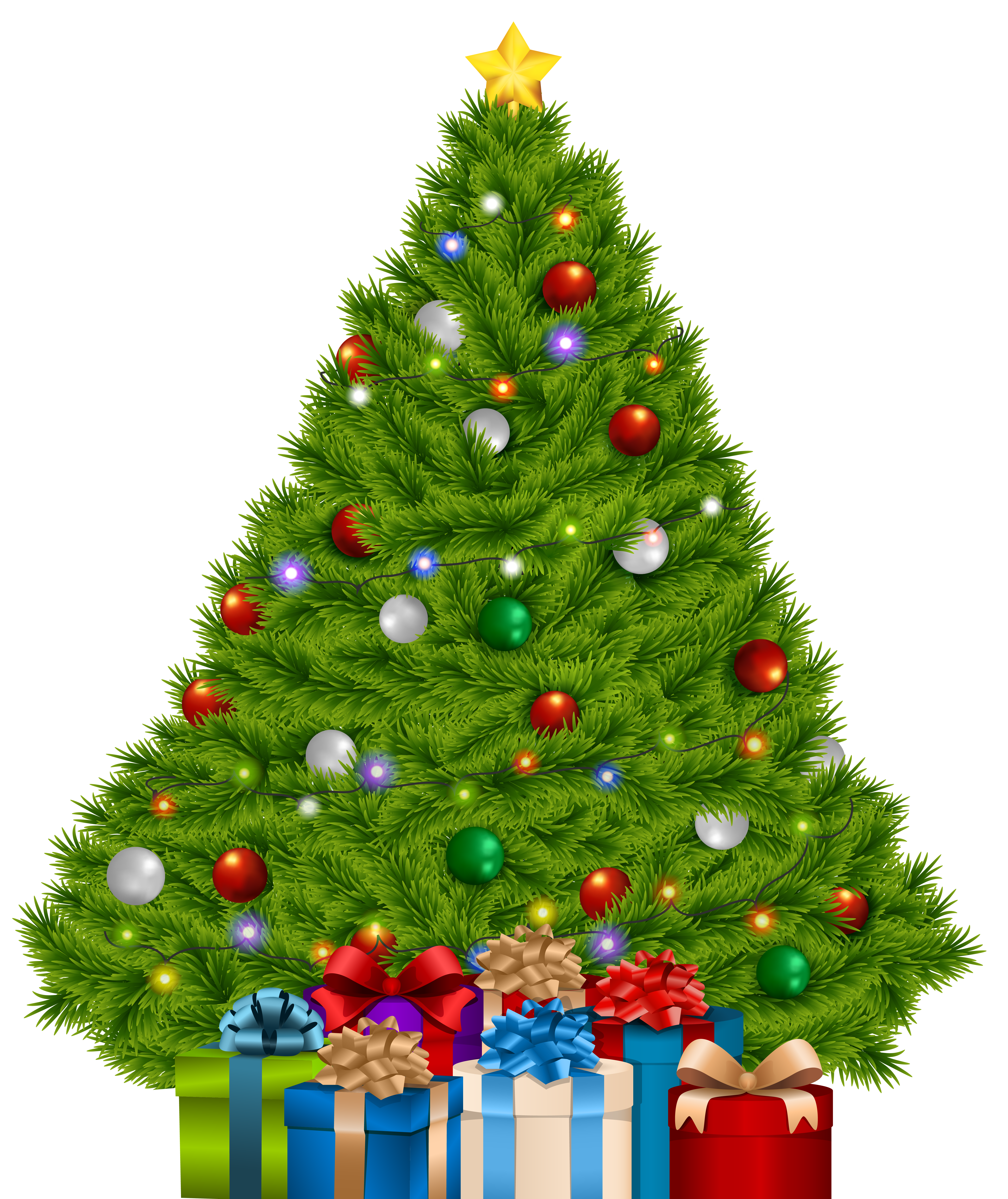 Extra Large Christmas Tree with Gifts PNG Clip Art Image.