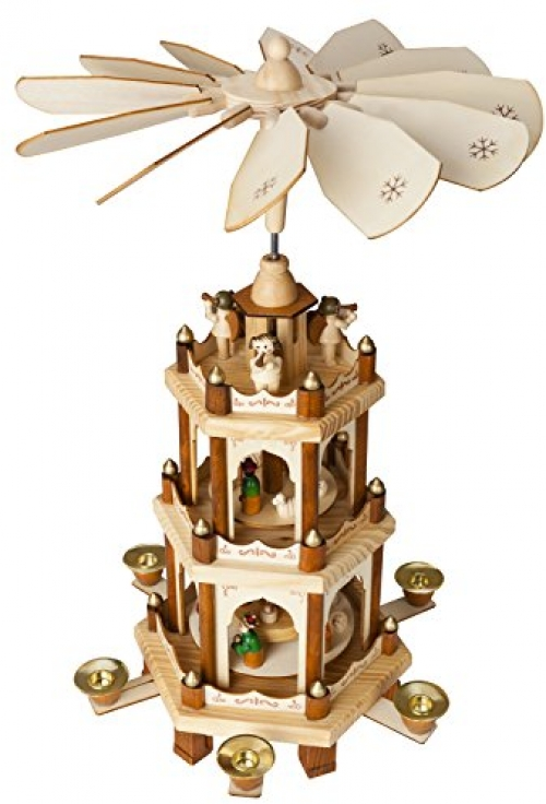 Christmas Pyramid 18 inches Nativity Play 3 Tier Carousel with 6.