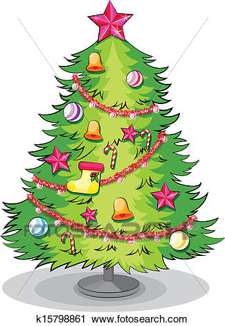 A big christmas tree with many decorations Clipart.