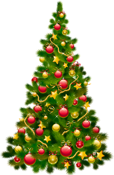 Large Transparent Christmas Tree with Ornaments Clipart.