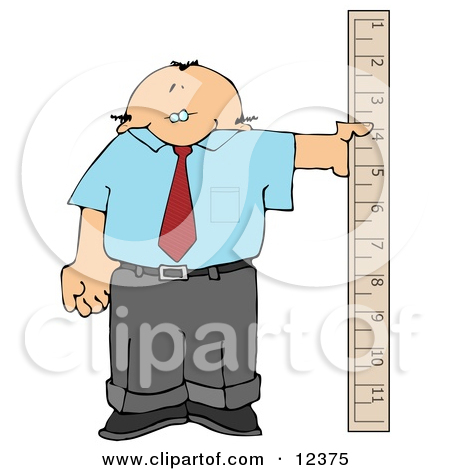 Balding Businessman Holding a Large Ruler Clipart Picture by.