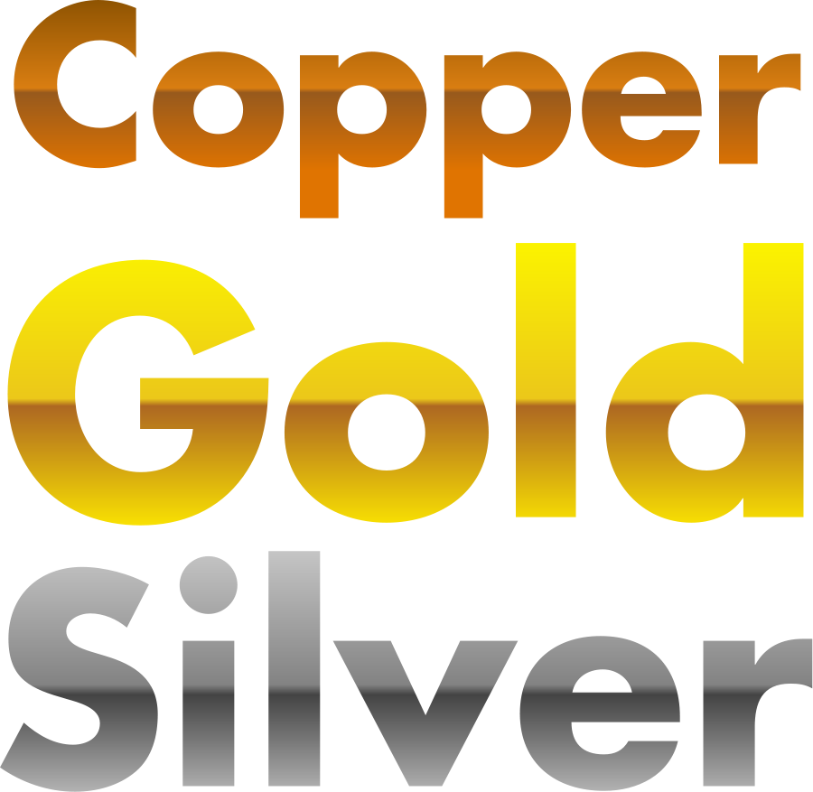 Copper, gold, and silver gradients SVG Vector file, vector clip.