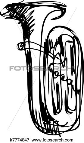 Clip Art of sketch of the copper tube musical instrument k7774847.