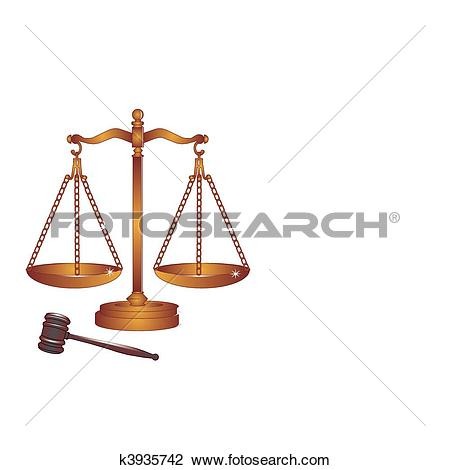 Clipart of Bronze or copper gavel and scales. k3935742.