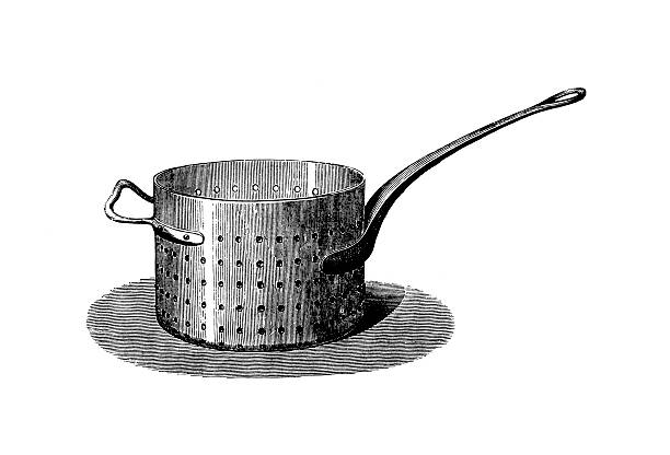Cooking Old Fashioned Domestic Kitchen Colander Clip Art, Vector.