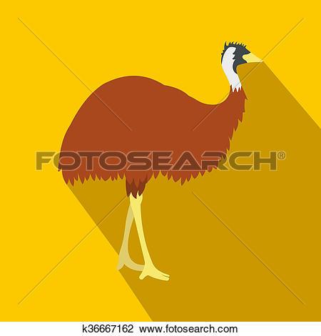 Clip Art of Emu icon, flat style k36667162.