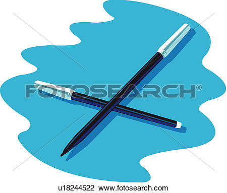 Clipart of pen, student aptitude test, felt.