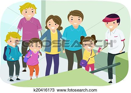 Clipart of Family Line Ticket Entrance k20416173.
