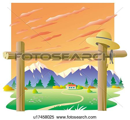 Stock Illustration of Entrance to ranch u17458025.