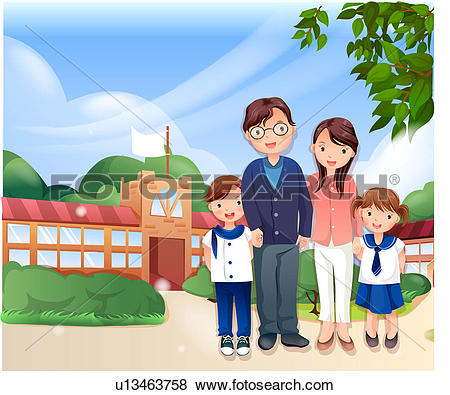 Stock Illustration of Family Standing at Entrance to School.