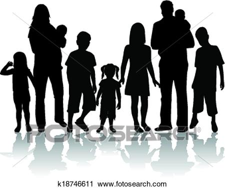 Profiles of large family Clipart.