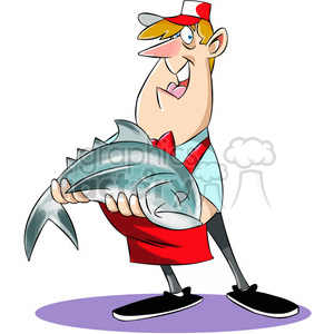 Chuck the cartoon butcher holding large fish clipart. Royalty.