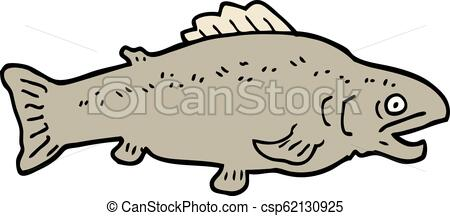 hand drawn doodle style cartoon large fish.